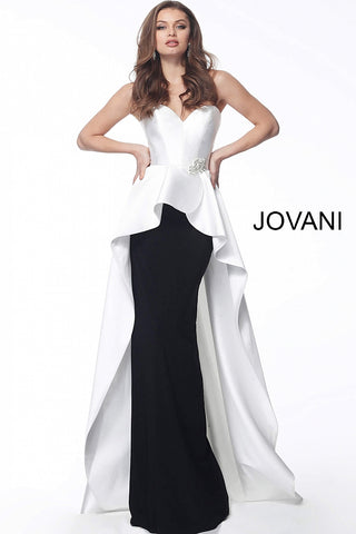 Ivory Black Strapless Sweetheart Neck Evening Jovani Dress 67123 - Elbisny