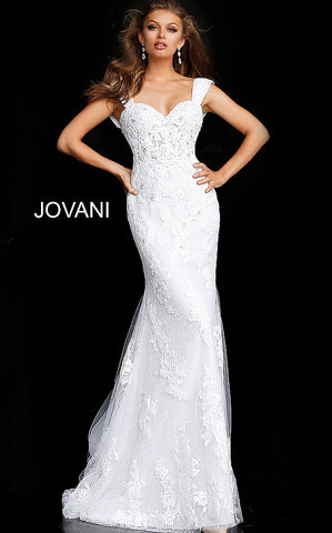 Off White Cap Sleeve Embroidered Wedding Gown JB63169 - Elbisny