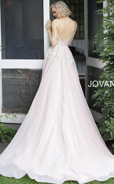 Blush Embroidered V Neck Wedding Dress JB65933 - Elbisny