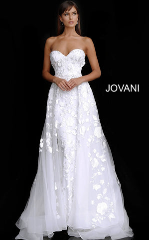 Off White Strapless Sweetheart Neck Bridal Gown JB65935 - Elbisny