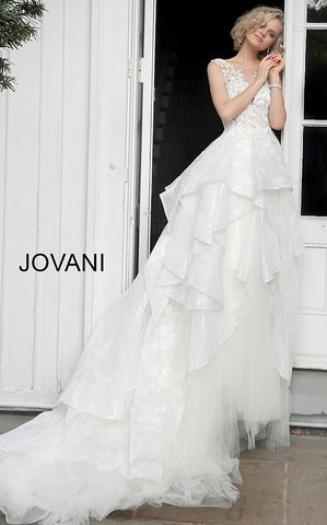 Off White Floral Embroidered Wedding Dress JB68165 - Elbisny