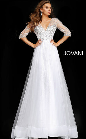 Off White Three Quarter Sleeve Embellished Wedding Gown JB68168 - Elbisny