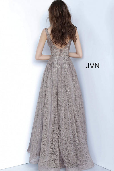 Cafe Plunging Neckline Embroidered Prom Gown JVN02314 - Elbisny