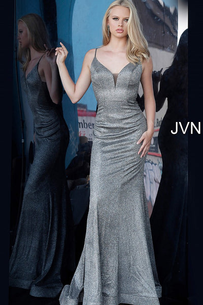 Gunmetal Metallic Plunging Neckline Prom Dress JVN2164 - Elbisny