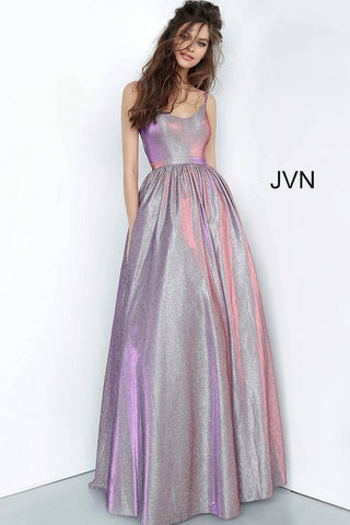 Purple Metallic Scoop Neckline Prom Ballgown JVN2191 - Elbisny
