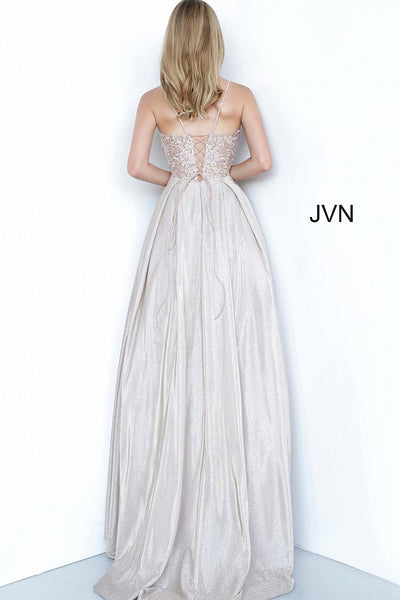Nude Embroidered Bodice Tie Back Ballgown JVN2206 - Elbisny