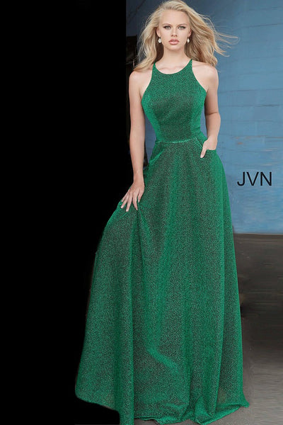 Emerald Jewel Neckline Sleeveless Prom Dress JVN2310 - Elbisny