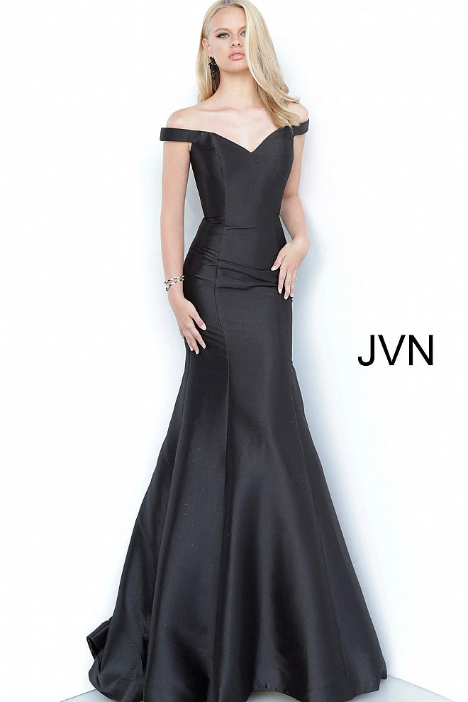 Black Off the Shoulder Mermaid Prom Dress JVN3245 - Elbisny