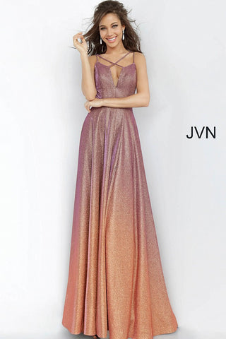 Purple Gold Plunging Neckline Maxi Prom Dress JVN4327 - Elbisny