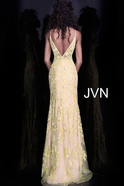 Off White Nude Spaghetti Straps Backless Prom Dress JVN62330 - Elbisny