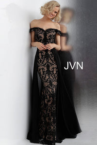 Black Nude Off the Shoulder Lace Prom Dress JVN62489 - Elbisny