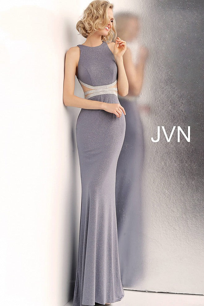 Grey Embellished Waist High Neck Prom Dress JVN62495 - Elbisny