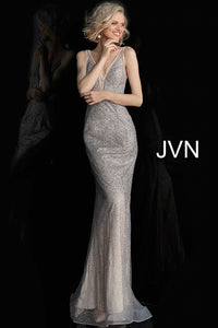 Silver Nude Fitted V Neck Sleeveless Prom Dress JVN62500 - Elbisny