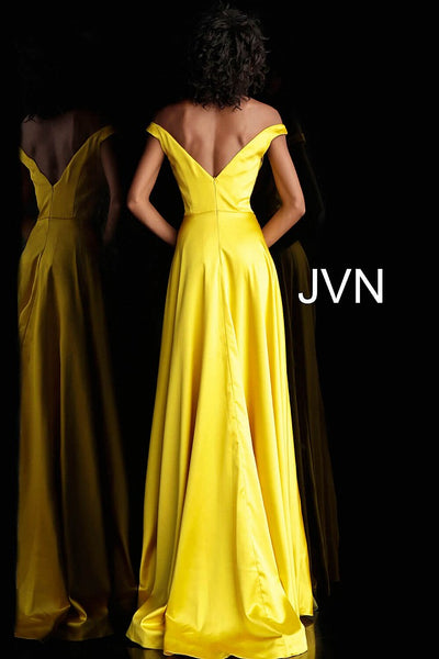 Yellow Off the Shoulder High Slit Prom Dress JVN67752 - Elbisny