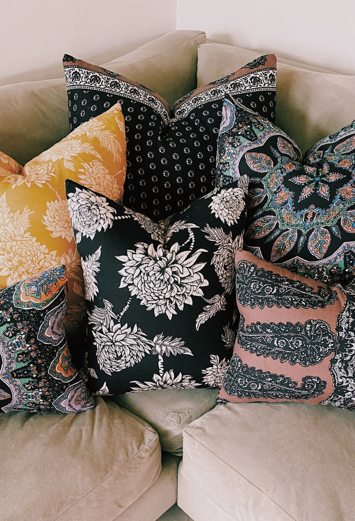 NR Large Pillow- black daisy paisley