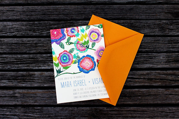 An Lim Wildflower Wedding Invitation