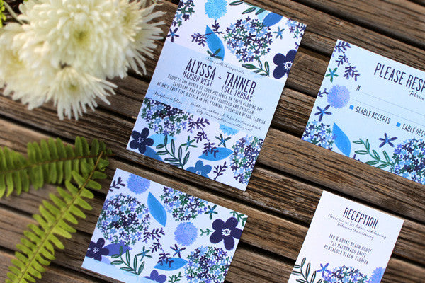 An Lim Indigo Blooms Wedding Invitations