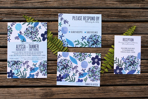 An Lim Indigo Blooms Wedding Invitation Set