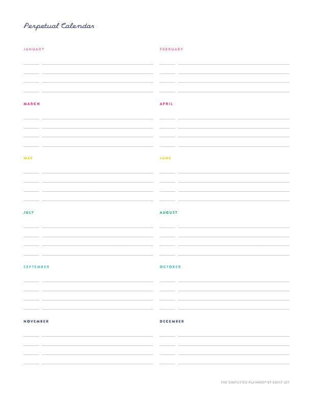 picture about Free Printable Perpetual Calendar named Absolutely free printable library Simplified® through Emily Ley