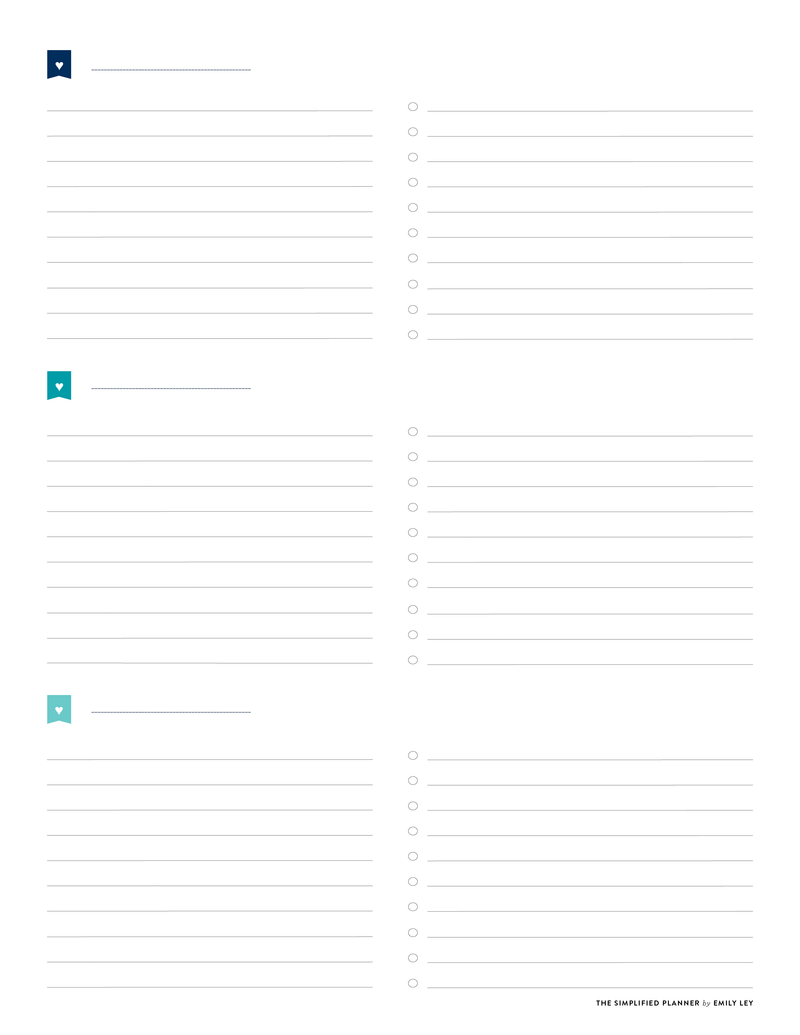 picture about Weekly Planner Pages named Totally free printable library Simplified® via Emily Ley