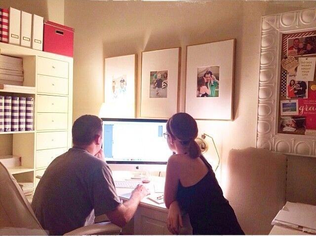 Emily and Bryan looking at computer screen