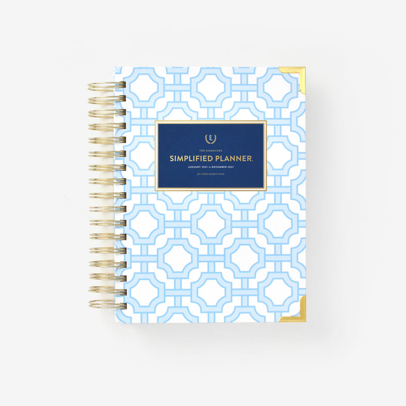 2021 Daily, Simplified Planner, Blue Trellis