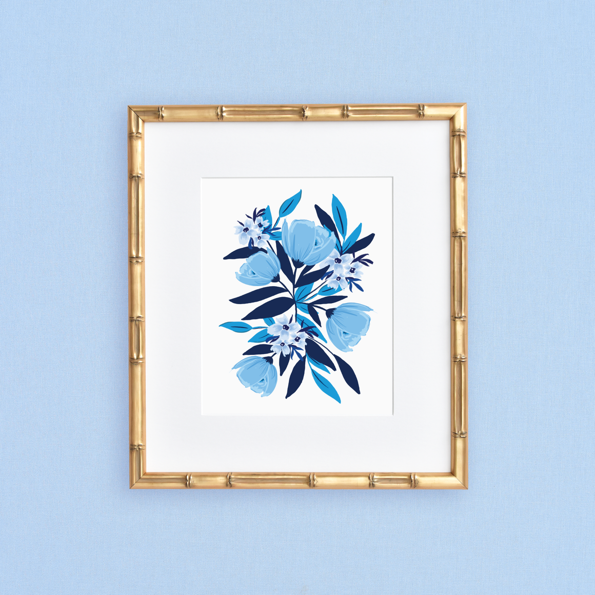 featured: Blue Blooms Art Print IN FRAME