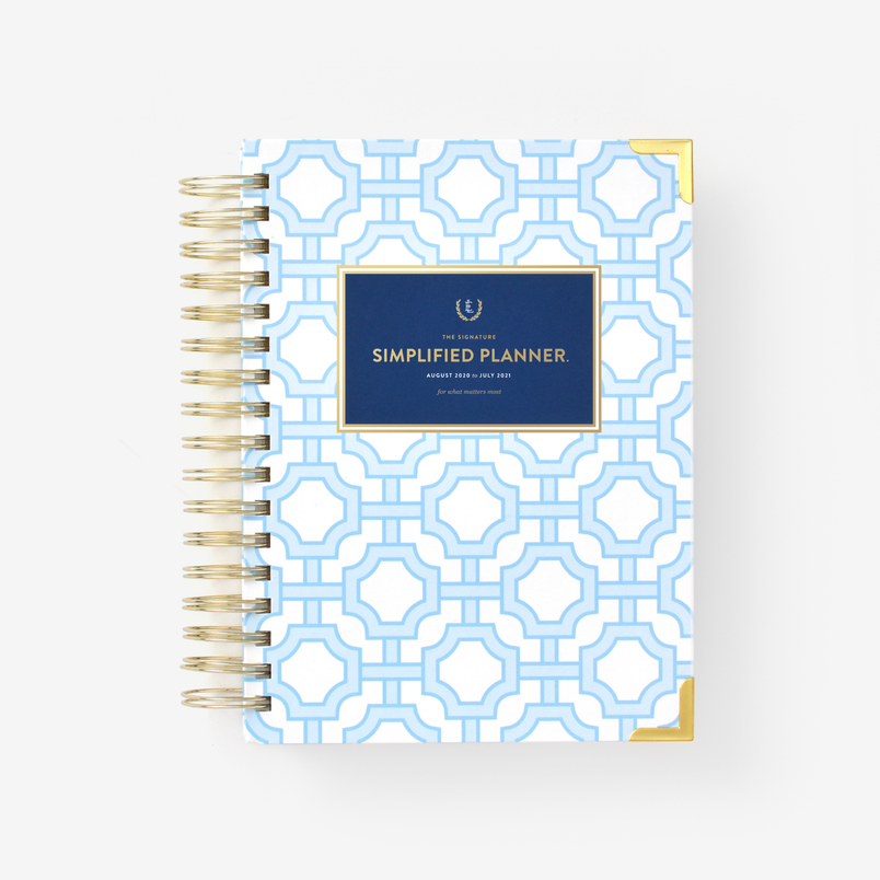 2020-2021 Daily, Simplified Planner, Blue Trellis