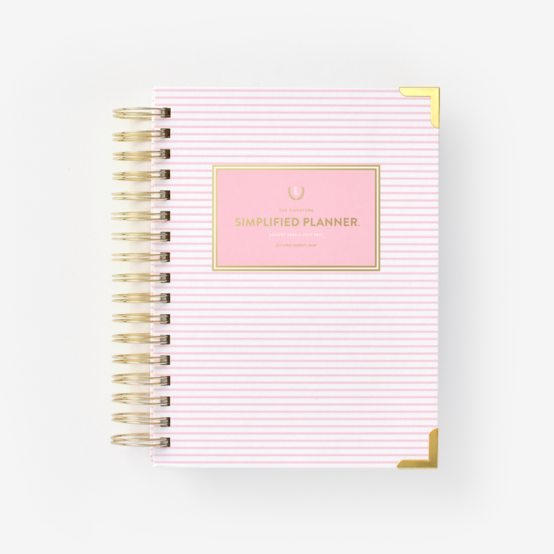 2020-2021 Daily, Simplified Planner, Pink Pinstripe