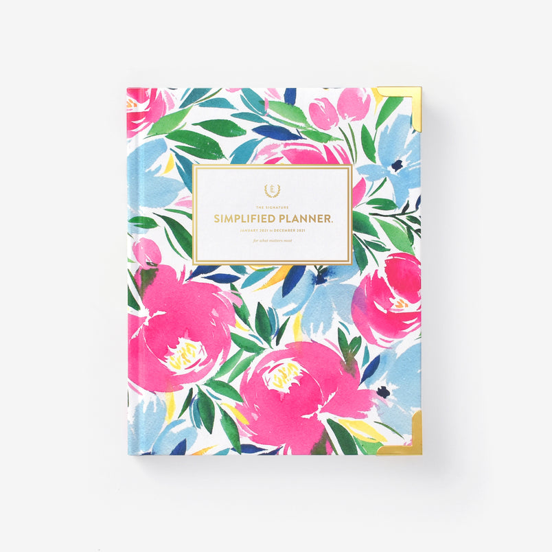 Happy Floral 2021 Weekly Simplified Planner