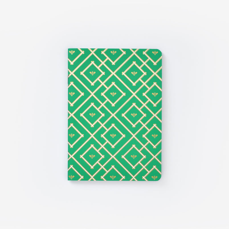 Kelly Green Bees Mini Notebook