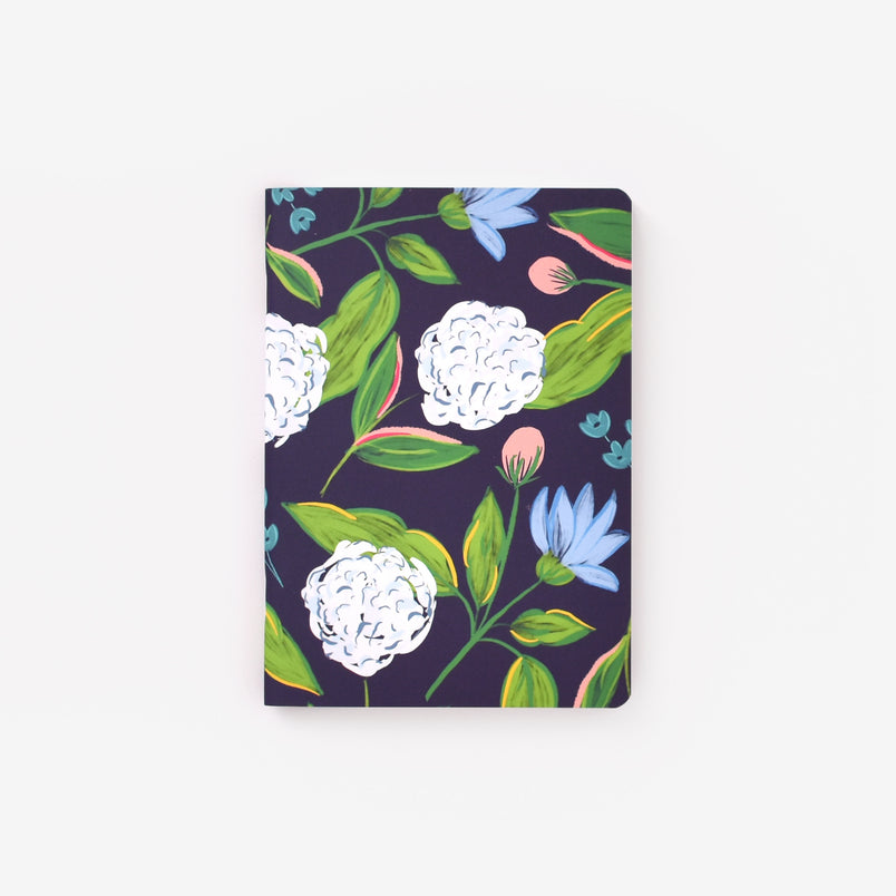 Navy Hydrangeas Mini Notebook