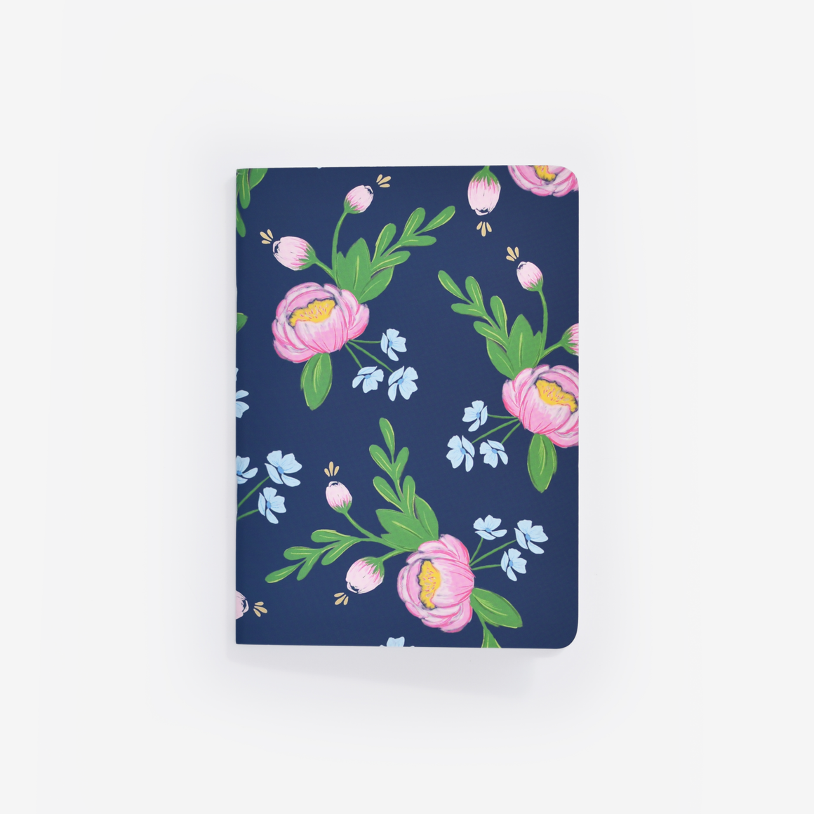 Navy Blooms Mini Notebook