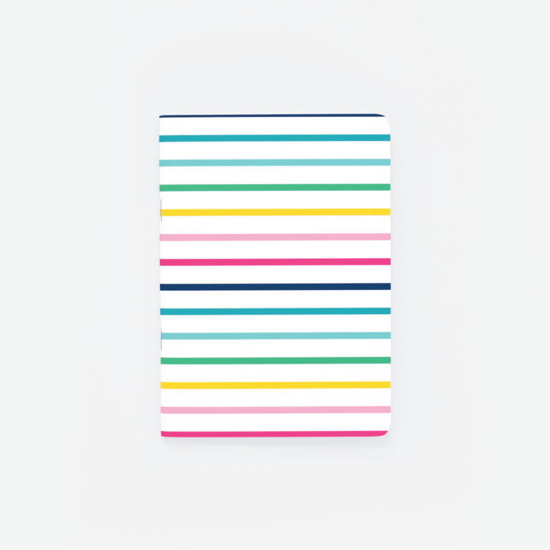Thin Happy Stripe Mini Notebook