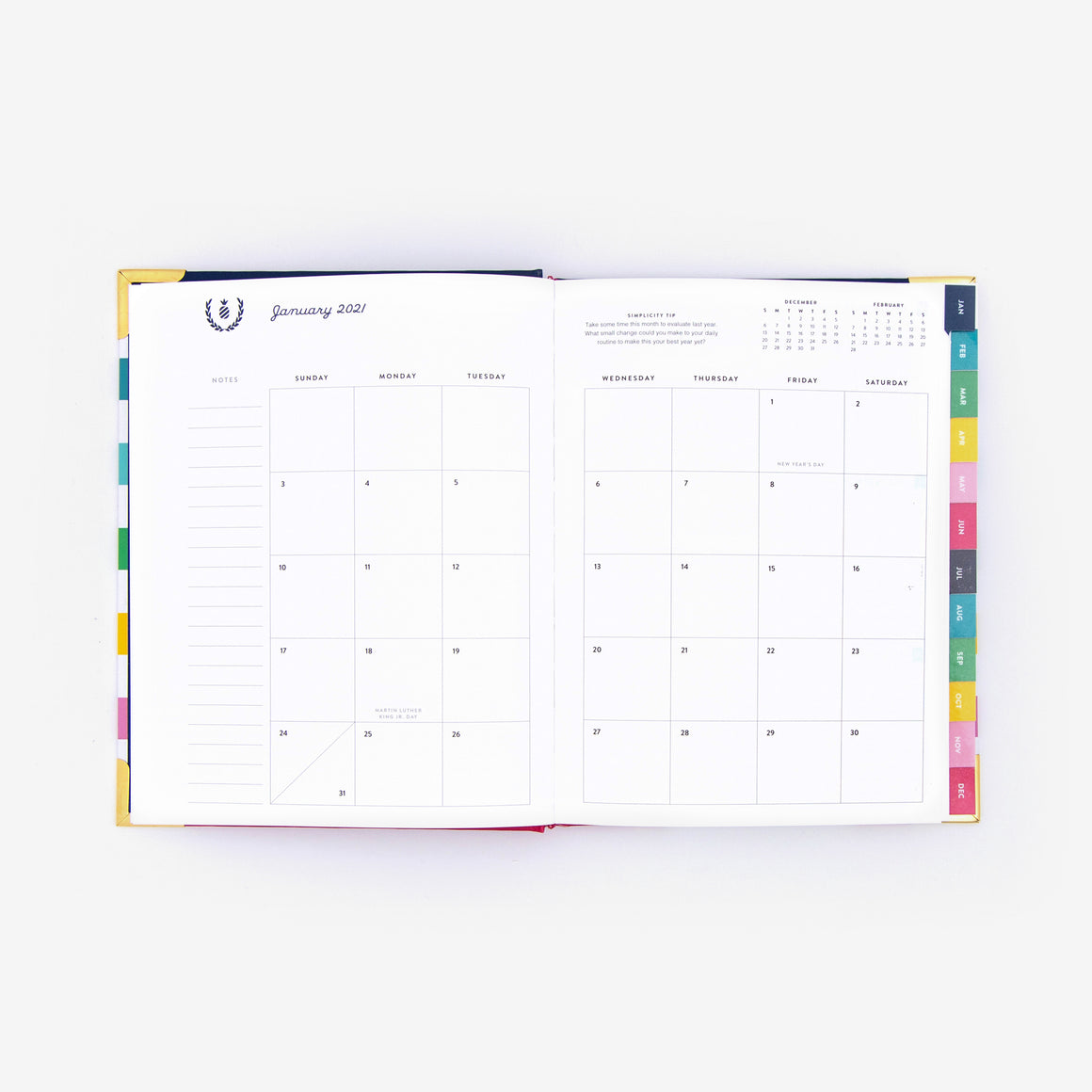 2021 Weekly, Simplified Planner, Blue Trellis