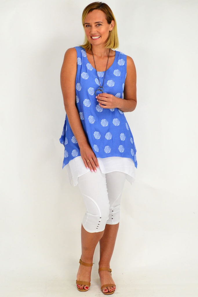 Blue Spot Overlay Tunic Top