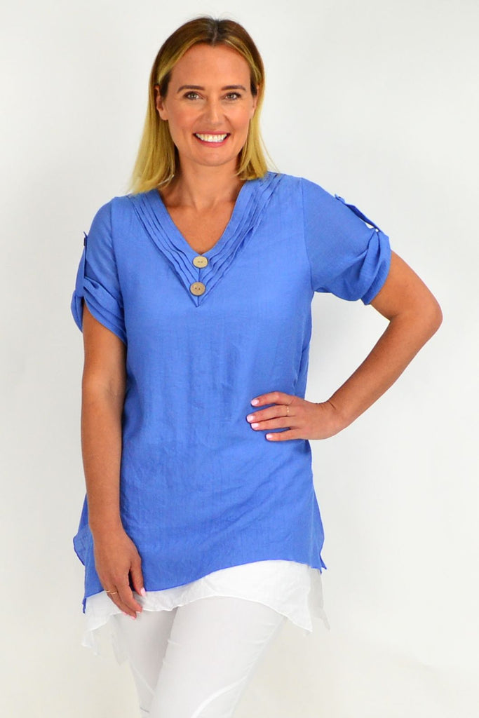 Sky Blue Short Sleeve Overlay Tunic Top