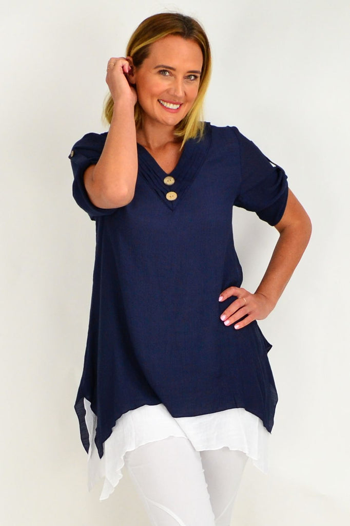 Dark Blue Short Sleeve Overlay Tunic Top