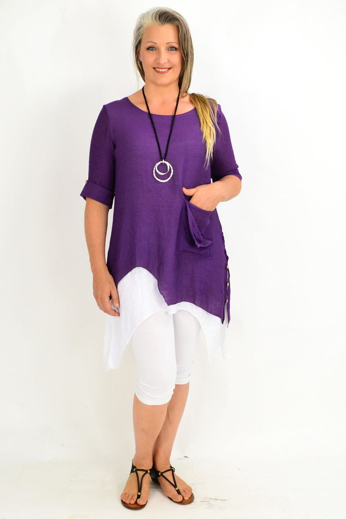 Pat's Purple Overlay Tunic Top