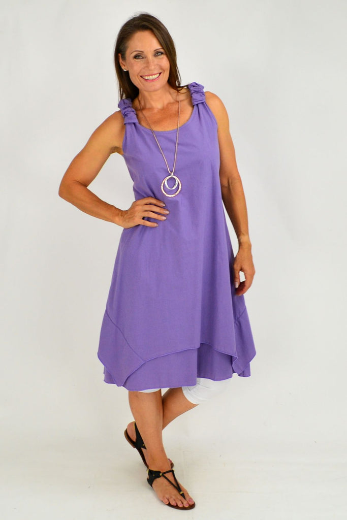 Purple Overlay Tunic Dress