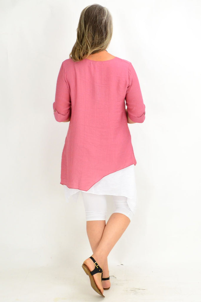 Pat's Dusty Pink Overlay Tunic Top