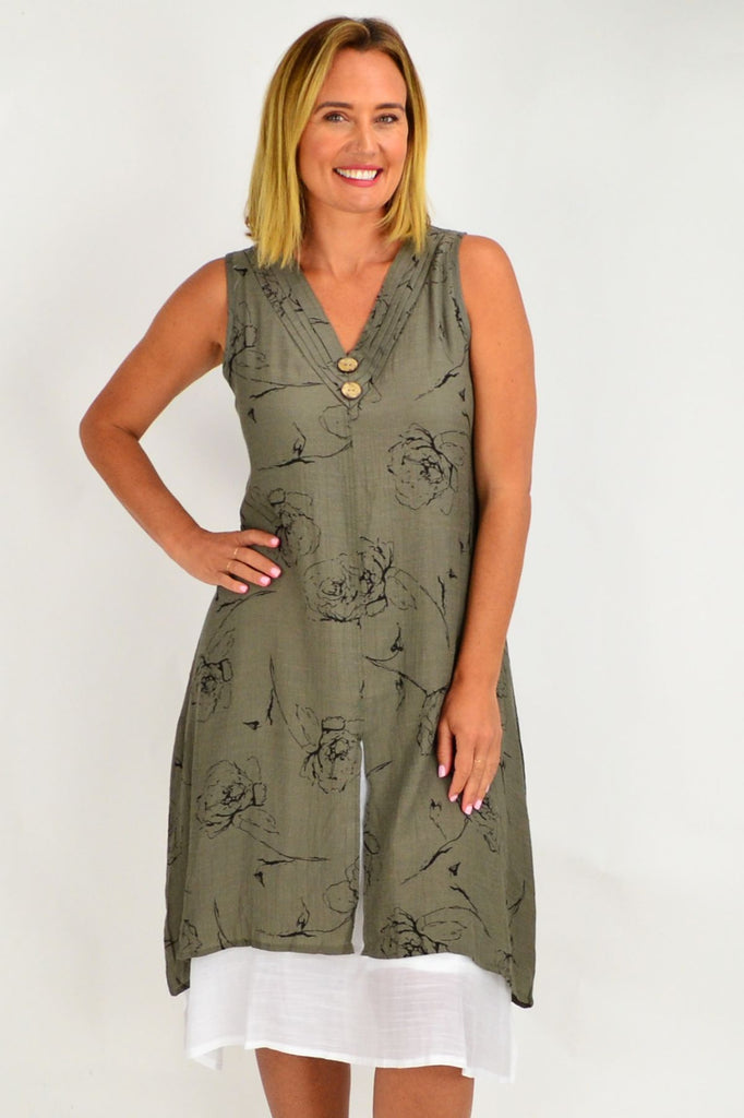 Rose Overlay Khaki Tunic Dress