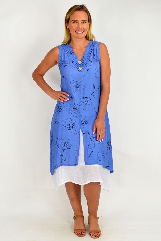 Rose Overlay Blue Tunic Dress
