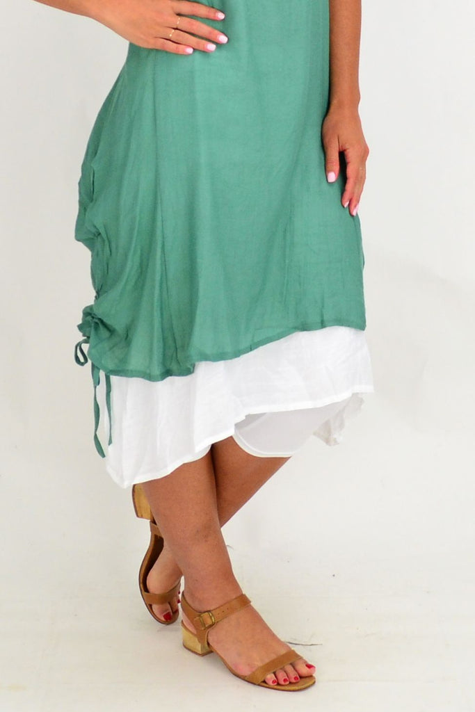 Green Overlay Tunic Dress