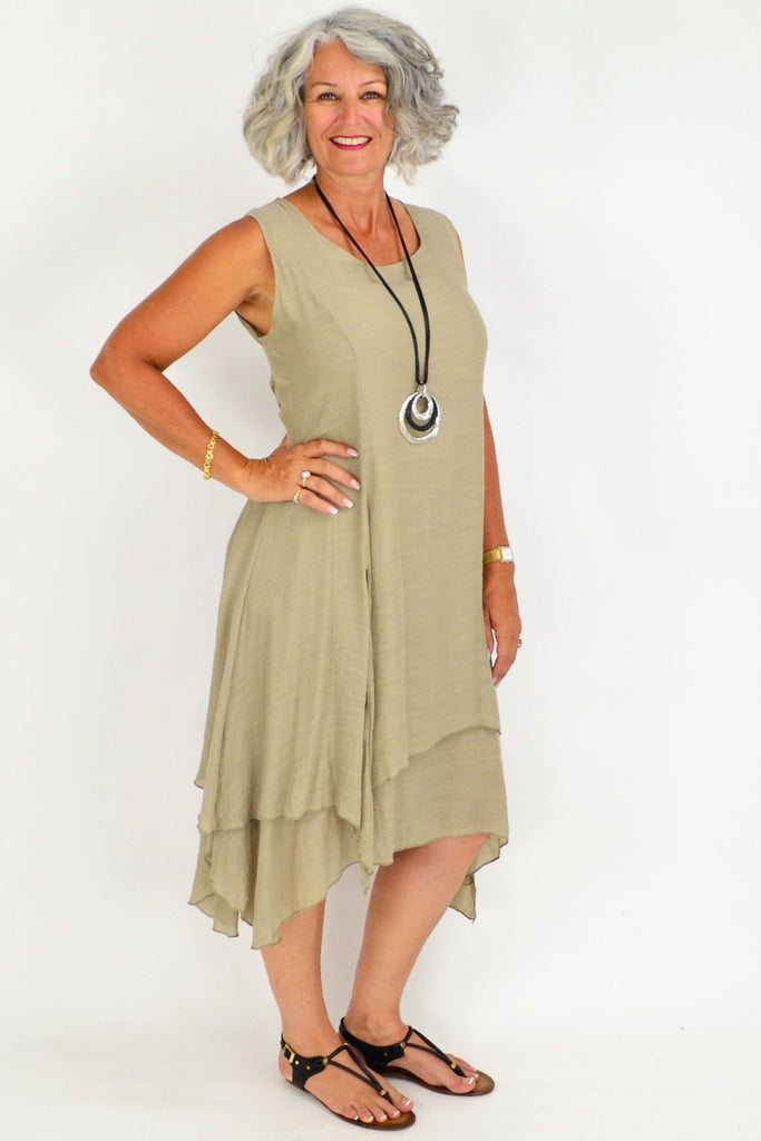 Taupe Long Double Layered Linen Cotton Tunic Dress