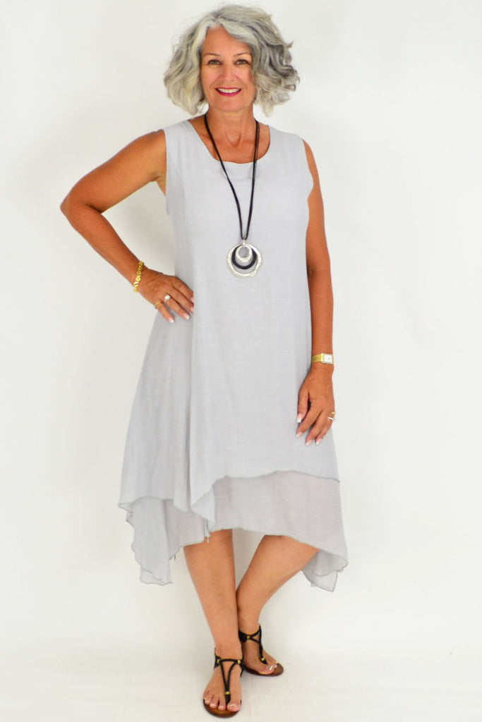 Silver Grey Long Double Layered Linen Cotton Tunic Dress