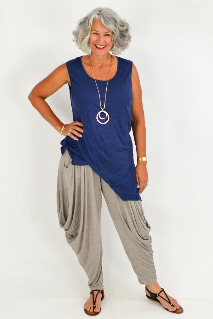 Navy blue sleeveless top