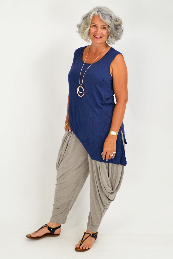 Julie Dark Blue Cotton Tunic