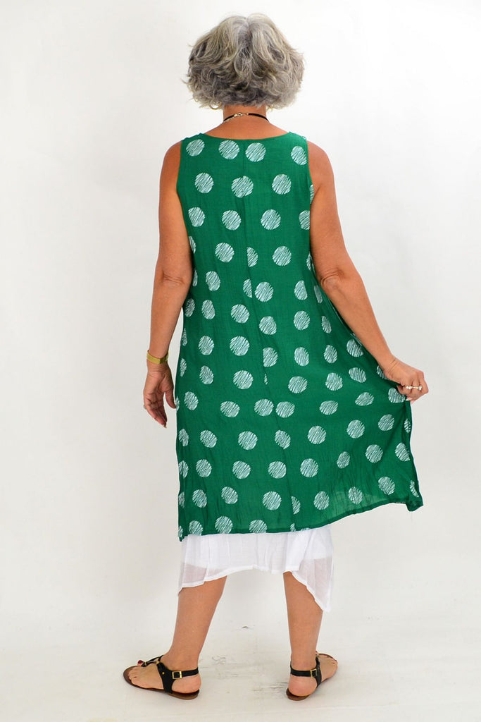 Green Spot Overlay Tunic Dress