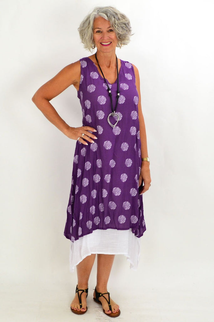 Purple White Spot Overlay Tunic Dress